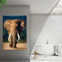 Canvas Pictures Home Decor 1 Piece Walking Elephant Sunset Africa Grassland Scenery Painting Prints Poster Living Room Wall Art
