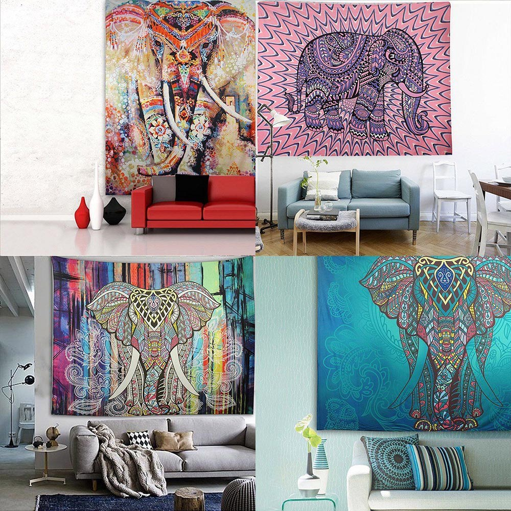 21 designs choose elephant tapestry colored printed decorative mandala tapestry indian bohemia boho wall carpet 130cmx150cm - Wall Carpet Designs