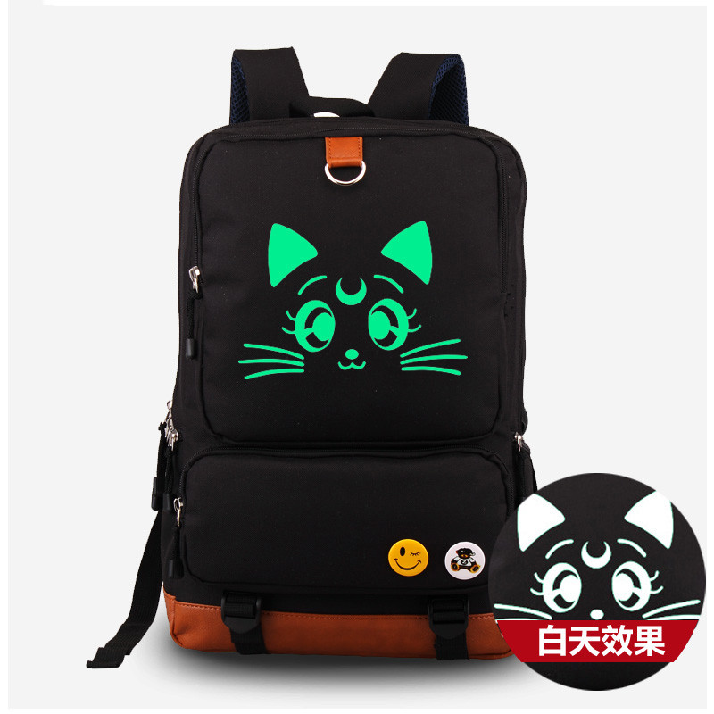 Anime Harajuku Sailor Moon Lunar Fluorescent Canvas Shoulders Bag Rucksack Cosplay Students Backpack Satchel School Bags anime sailor moon waterproof laptop backpack double shoulder bag school bag printed with mercury hinorei makoto aino
