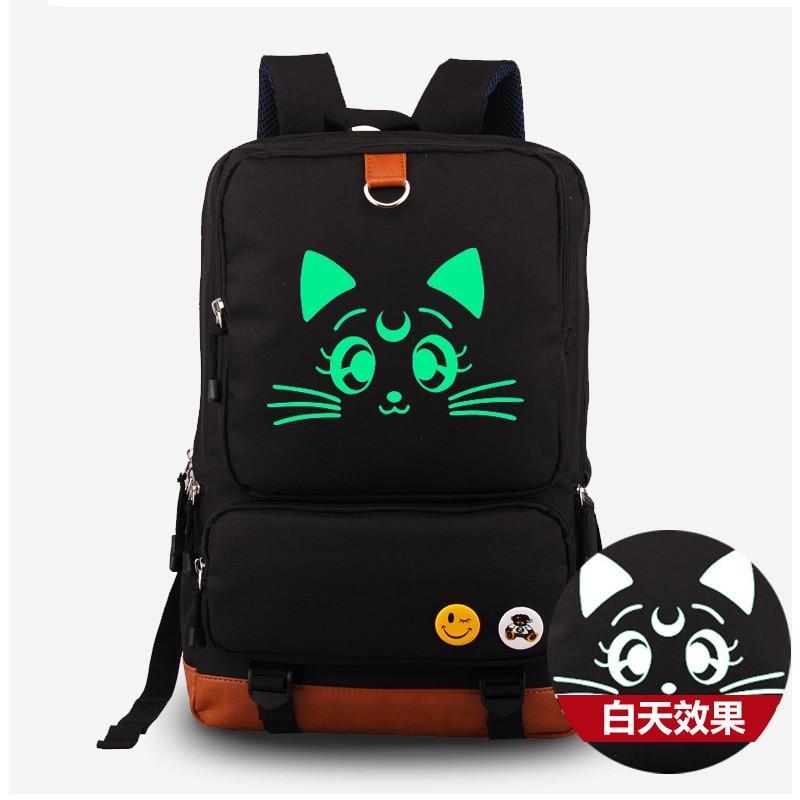 все цены на Anime Harajuku Sailor Moon Lunar Fluorescent Canvas Shoulders Bag Rucksack Cosplay Students Backpack Satchel School Bags