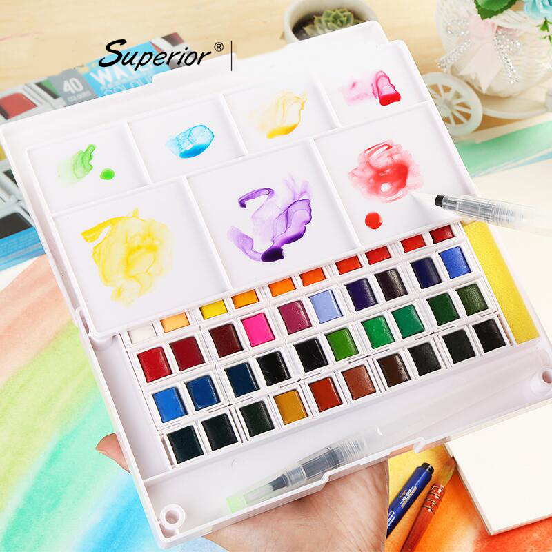 Superior 12/36/48 Solid Watercolor Painting Set With Paintbrush Bright Color Portable Watercolor Pigment For Student Art Supplie