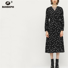 ROHOPO Dark Blue Long Sleeve Women Polk Dot Dress Autumn Female Belt Tie Casyal Warp Midi Vestido #BM1796
