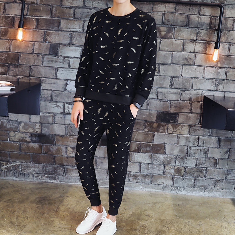 Gold Feather Print Tracksuit Men Set  Chandal Hombre Completo 2018 Autumn Jogginganzug Herren Black Blue Fancy Men Tracksuit 3xl
