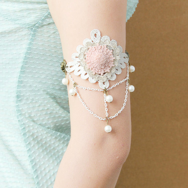 Women Armlet Handmade Boho Dance Bridal Party Arm Band Armband Layer Flower  Heart Lace Chain Rose 16294435ffcc