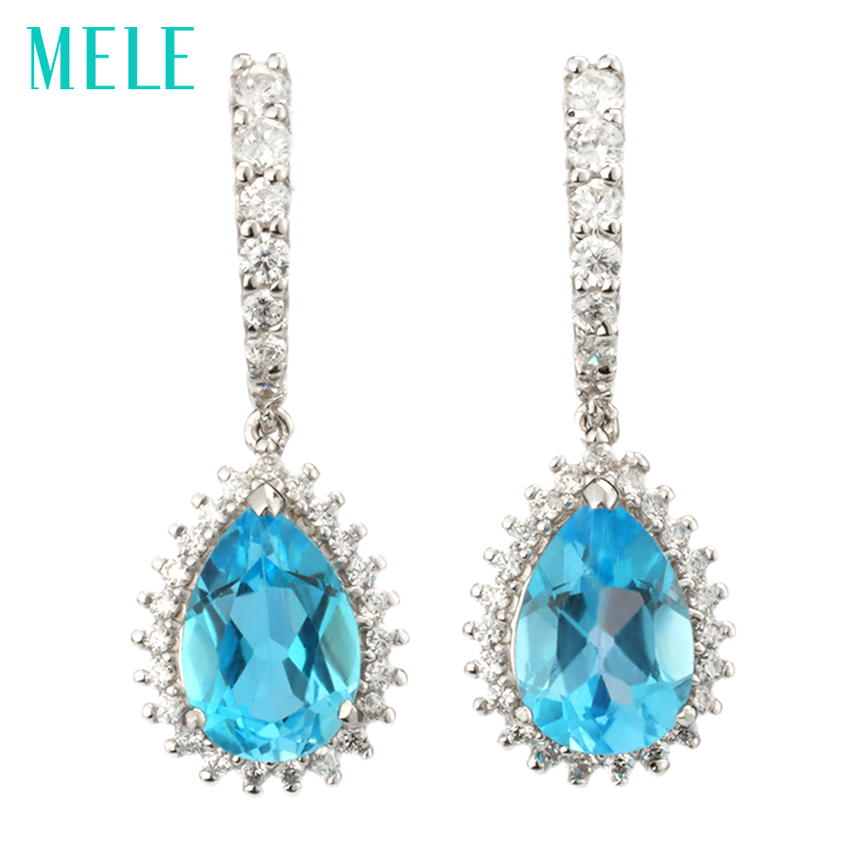 все цены на MELE Natural blue topaz silver earring, pears 7mm*10mm, deep blue color and professional cutting, fine and exquisite jewelry онлайн