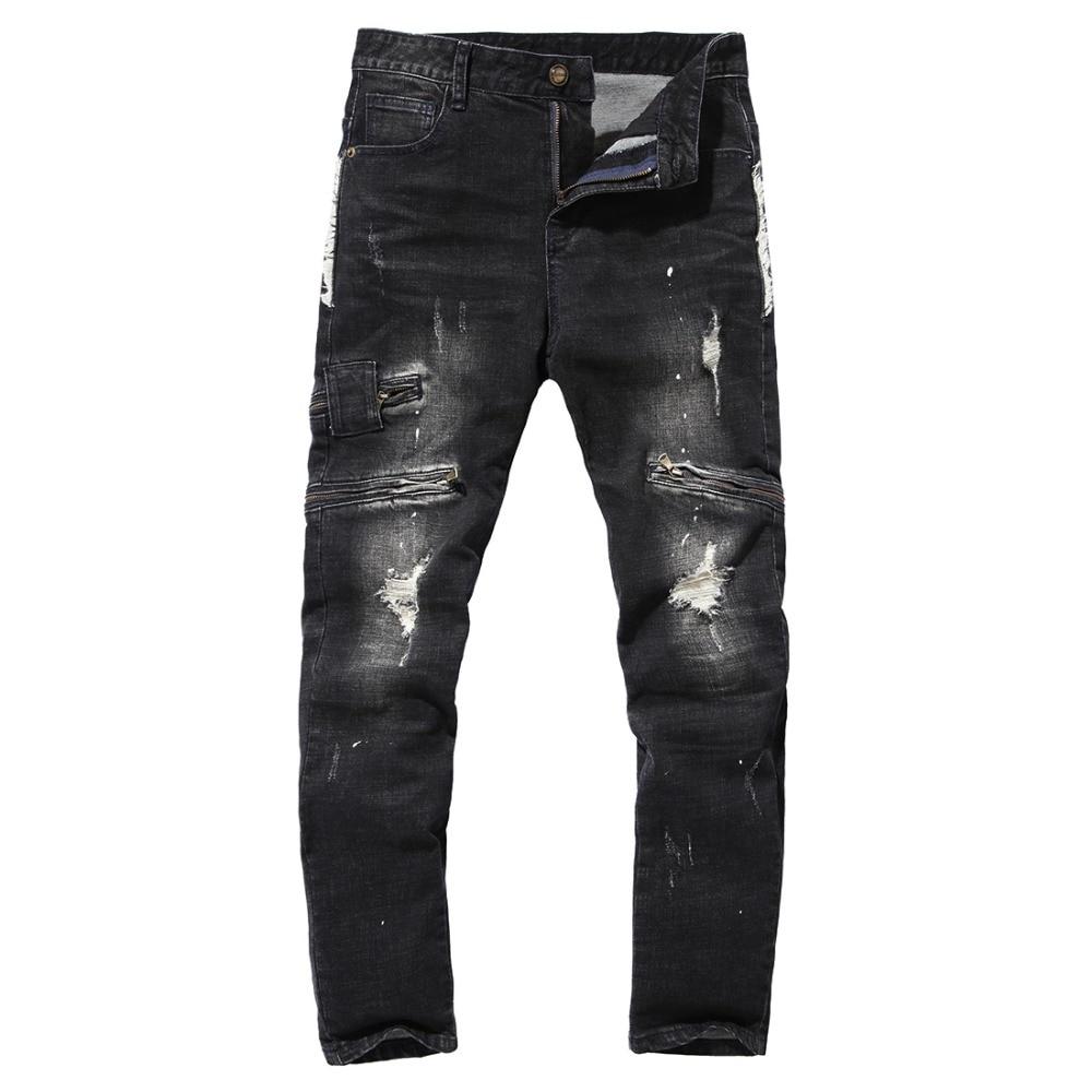 Good Quality Mens 100% Cotton Holes Slim Jeans New Fashion Male Multi-pocket Black Jeans Denim Trousers Size 40