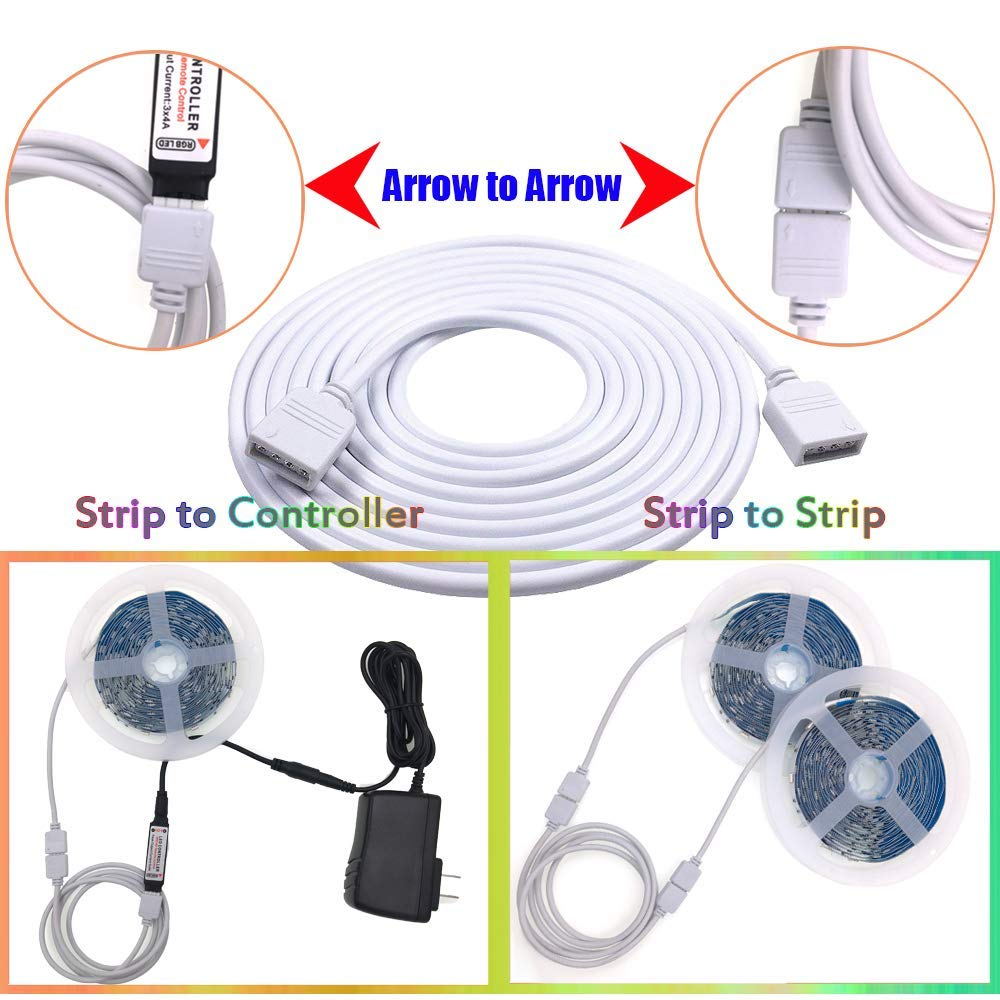 White Black 4PIN RGB Extension Cable 1M 2M 3M 5M 10M DC 12V Wire Cord Cable For 3528 5050 RGB LED Strip Light in Power Cords Extension Cords from Home Improvement