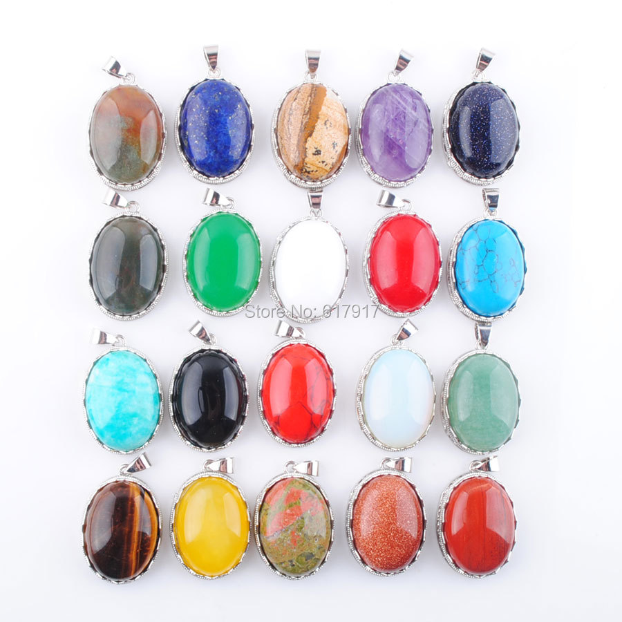 RONGZUAN Free Shipping Amethysts Turquoises Agates Gem Stone Oval 21x28mm Bead Pendant 1PCS Jewelry TBN329 in Charms from Jewelry Accessories
