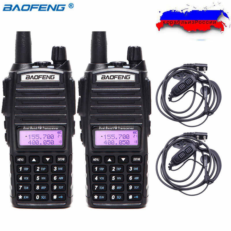 2 pièces BaoFeng UV-82 5w talkie-walkie Double bande VHF/UHF Radio bidirectionnelle Double PTT Radio Amateur Portable Radio BAOFENG UV82 + casque