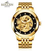 Черный золото для мужчин часы Прохладный механические Автоматические наручные нержавеющая сталь Группа Мужской Скелет Китай