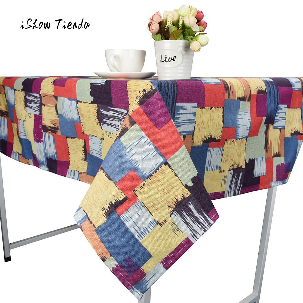 Graffiti Dining Tablecloth Cotton Linen Rustic Rectangle Washable Table Cover Colorful plaid Fashion Home Restaurant Tablecloth