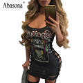 Abasona Lace up strapless patchwork sexy bodycon dress Cross night club party dresses Sleeveless women summer dress vestidos