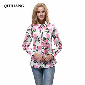 35694aa0c6da QIHUANG 2019 Модные женские рубашки хлопок с длинным рукавом лимонный принт  блузка ...