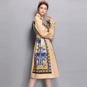 Image 2 - AELESEEN 2018 Womens Fashion Trench New Fall Winter Full Sleeve Turn Collar Luxury Vintage Print Slim Belt Elegant Long Coat