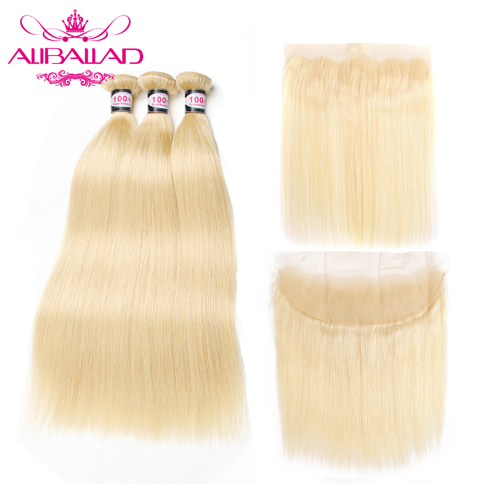 613 Blonde Bundles With Frontal Peruvian Straight Hair Wave 3 Bundles And Closure Remy Human Bundles