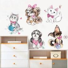 New 5D wall stickers Cartoon cat PVC removable waterproof DIY  TV backdrop decorative painting creative wallpaper