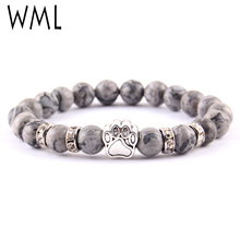 WML Yoga Energy Beaded cats dogs pet paw Charm Men Bracelet Buddha Nature Stone beads bracelets & bangles for Women accessories yoga for cats