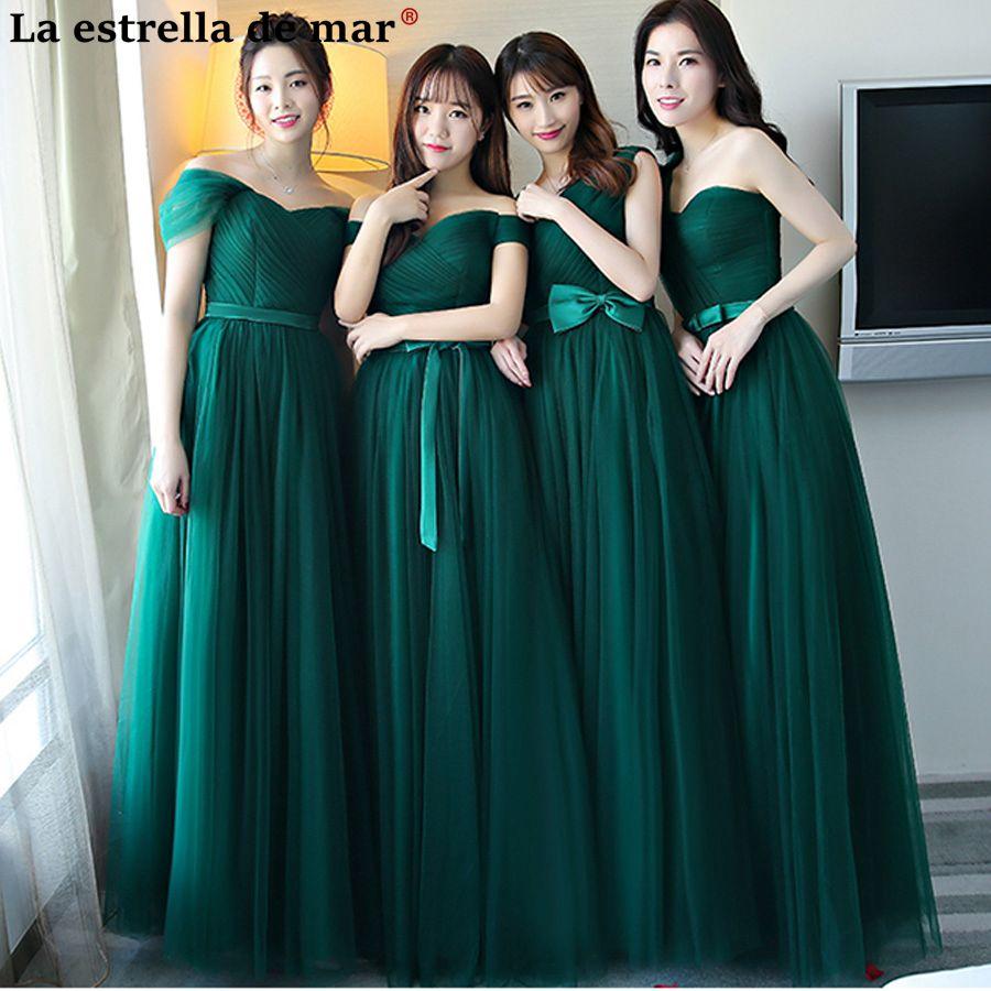 Vestido festa casamento2018 New Tulle A line 5 style dark green   bridesmaid     dress   long cheap bruidsmeisjes jurk women sale