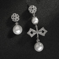 brand design AB style cz full paved cross Synthetic pearl Asymmetrical dangle earring fashion jewelry for women brincos