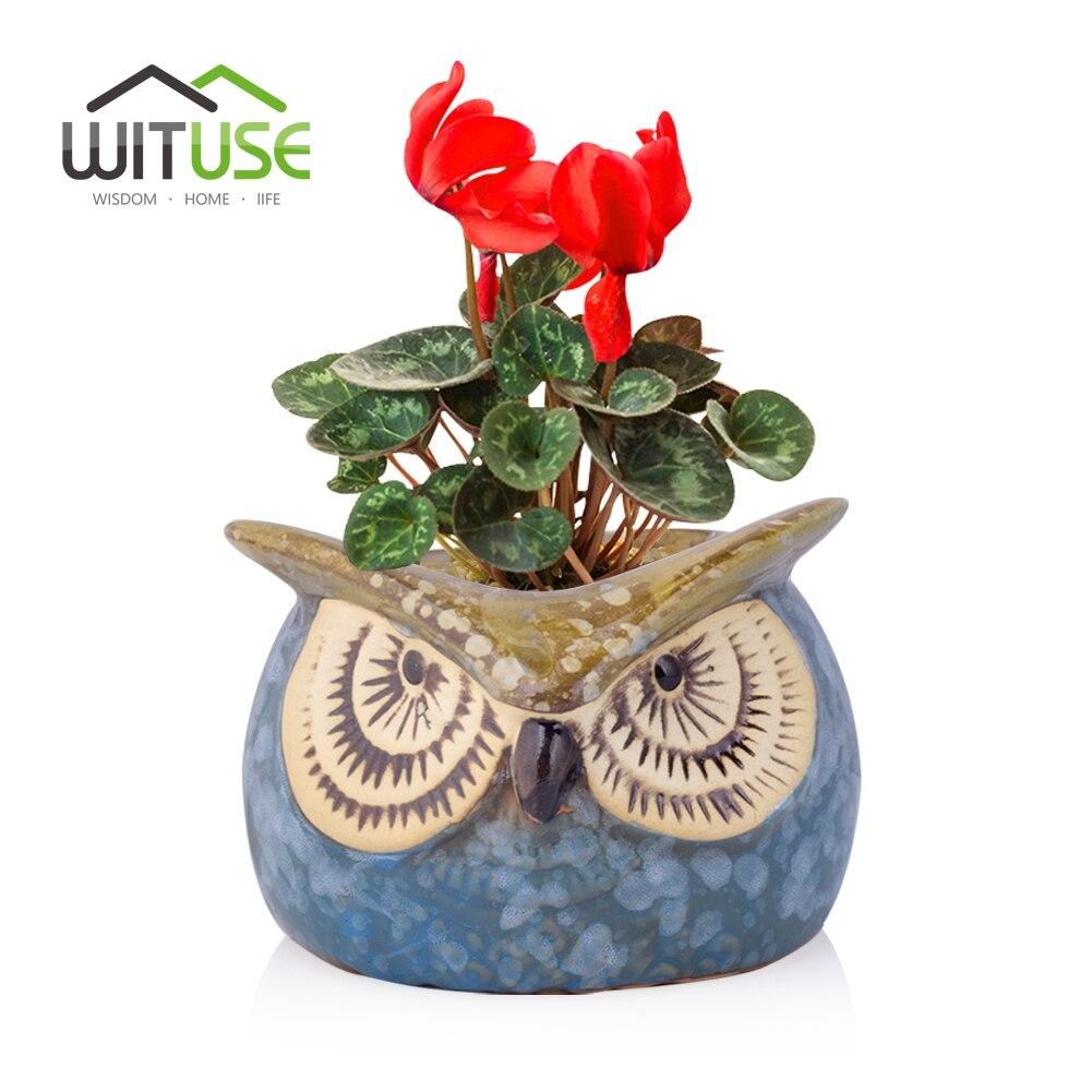 WITUSE Owl Clay Garden Pot Desktop Vetplant Keramische Indoor - Tuinbenodigdheden