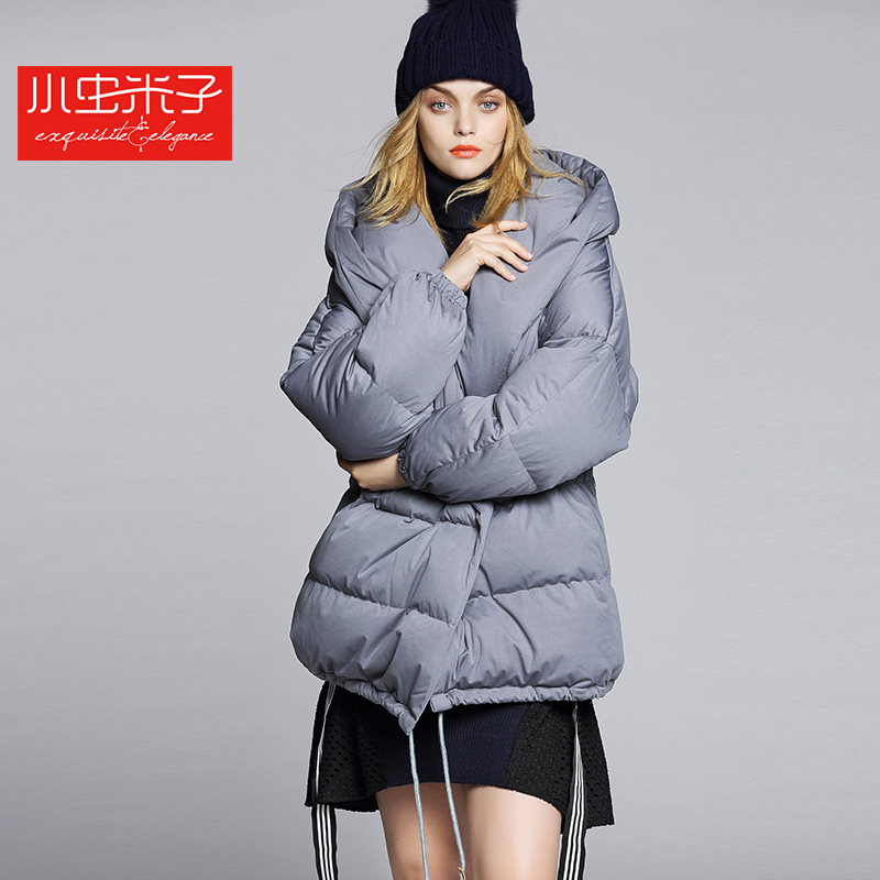 Freeshipping Runway Winter Down Coat 2015 Fashion Medium-long Fashion White Duck Down Thickening Hooded Quilt Down Coat
