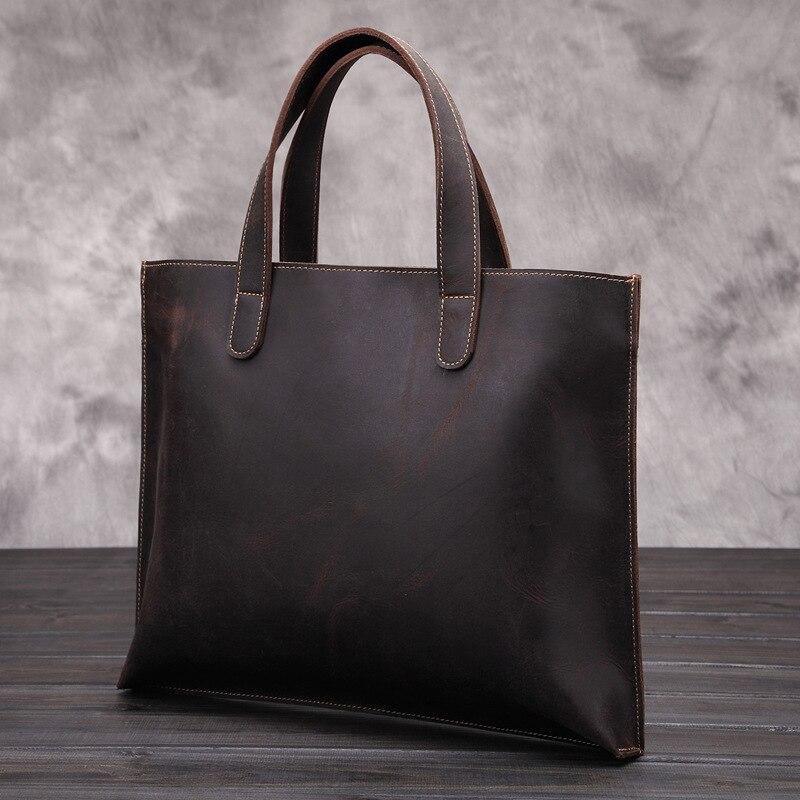 Men's Vintage Fashion Genuine Leather Shoulder Handbag Crossbody Sling Bag Tote Briefcase Portfolio For Male Man LS048