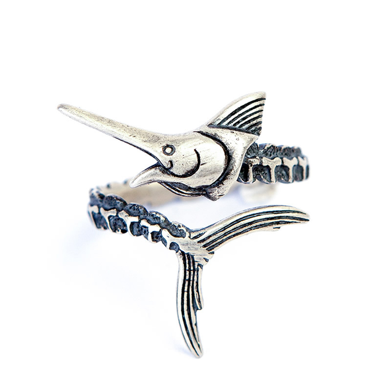 2018 925 Sterling Silver Vintage Goth Old Man & The Sea Marlin Fish Opening Ring Adjusta ...