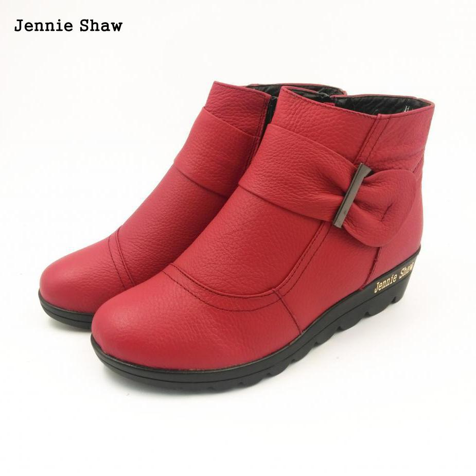 Winter women shoes cotton padded wedge boots genuine leather ankle boots