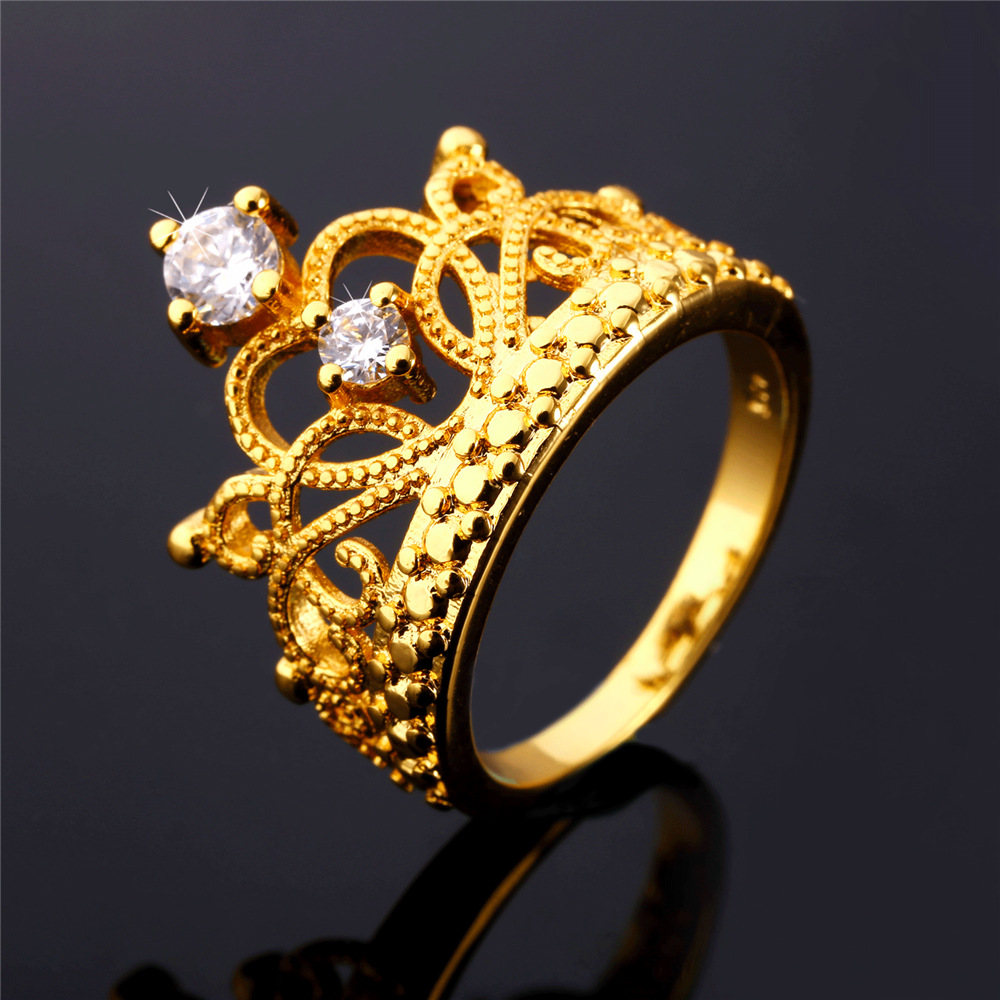 u7 luxury crown rings for women promise rings yellow gold plated cubic zirconia engagement wedding bands rings r164
