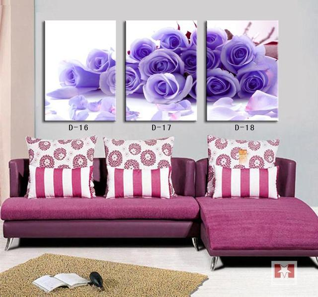 Modern Home Interior Deco Canvas Painting Purple Blue Rose Flower