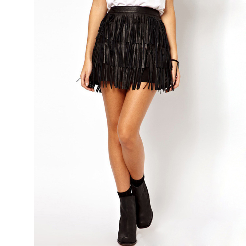 Skirts Womens 2016 New Design High Waist Synthetic PU Leather ...