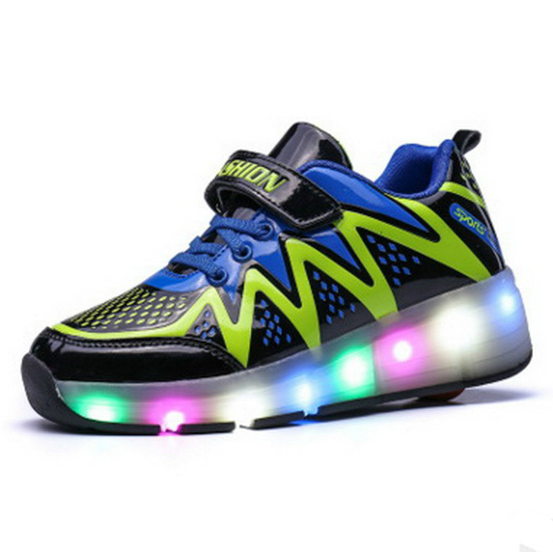 Sneakers With Wheels Glowing Sneakers Boys Girls LED Lights USB Charge Colorful Kids Shoes Size 31~39 glowing sneakers usb charging shoes lights up colorful led kids luminous sneakers glowing sneakers black led shoes for boys