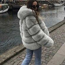 ce87016d6 De lujo de alta calidad de piel de zorro abrigo de mujer abrigo de invierno  abrigo