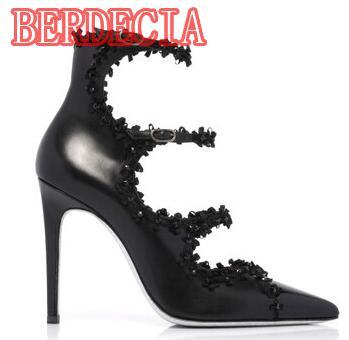 2017 Newest Flowers Rim Point Toe Women Ankle Top Pumps Ankle Buckles Ladies Sexy Wedding High Heels 10cm Female Dress Shoes