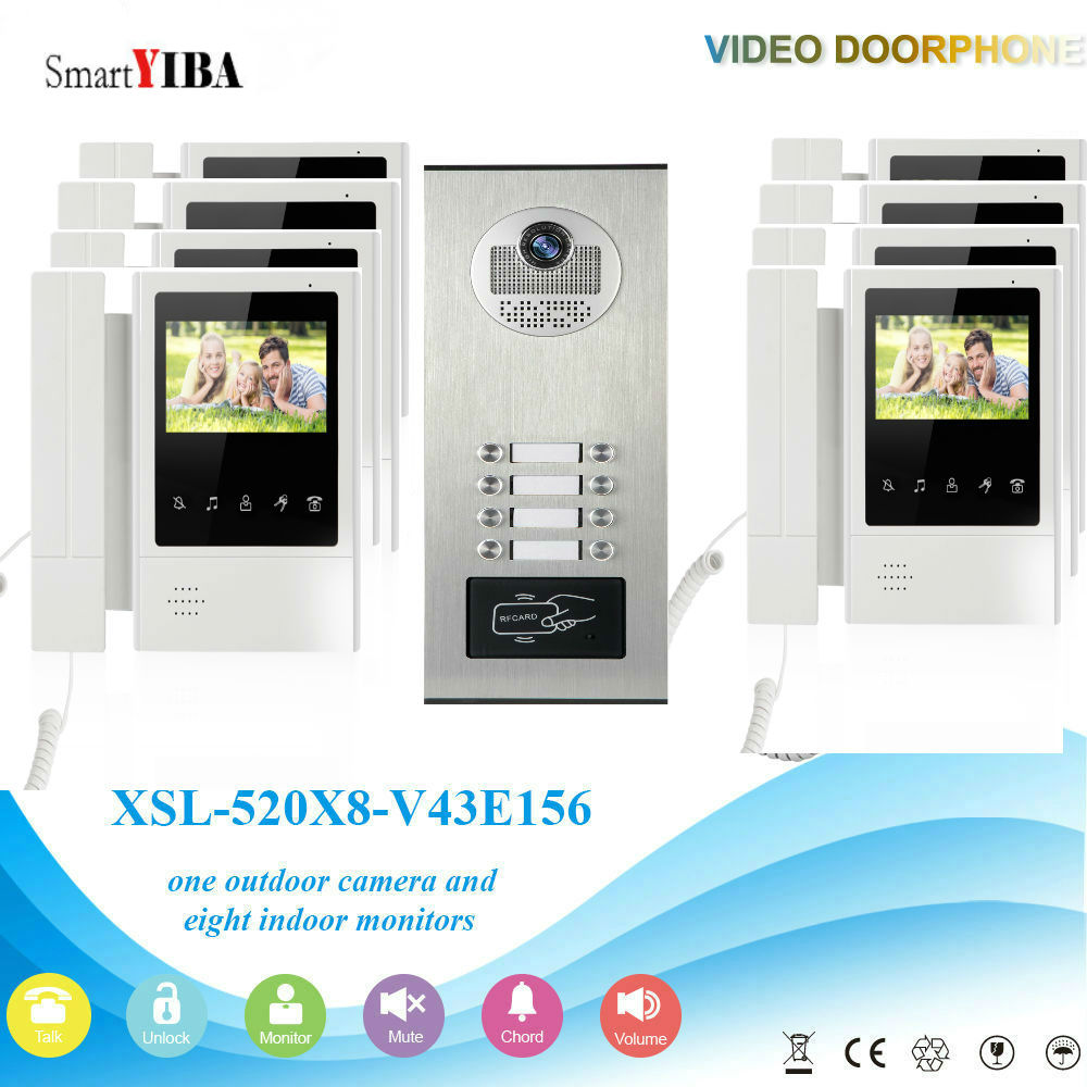 SmartYIBA 8 Units Color Apartment Video Door Phone Doorbell Intercom Kit With RFID Access IR Camera Apartment Doorbell Kits my apartment