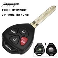 Jingyuqin 4 Abotona Llave Alejada Fob ID67 Chip para Toyota Camry 2007-2010 HYQ12BBY Car Auto Clave Remoto Contol 314.4 Mhz Reemplazo
