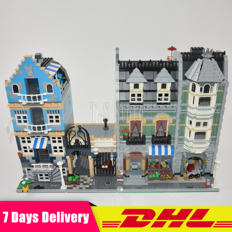 IN Stock DHL LEPIN 15007 Factory City Street European Market+15008 Green Grocer Model Building Bricks MOC 10185 10190 in stock dhl lepin set 15008 2462pcs city street figures green grocer model building kit blocks bricks educational kid toy 10185