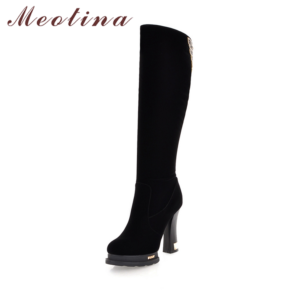 Meotina Women Boots Winter Crystal Knee High Boots Sexy Platform High Heels Boots Zip Size 34-39 2017 Autumn Ladies Shoes Black