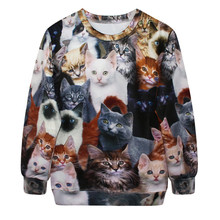 New Fashion European Style Coats Casual Slim O-Neck Lovely Cat Sweatshirts 3D Digital Printing Single Size Women's Pullover