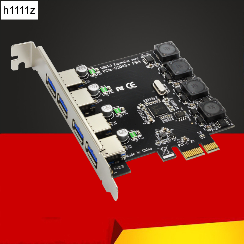 5Gbps Superspeed 4 Ports USB 3.0 Expansion Card Adapter PCI-E PCI Express Controller for PCIe X1 X4 X8 X16 Port for Win 7 8 10 купить в Москве 2019