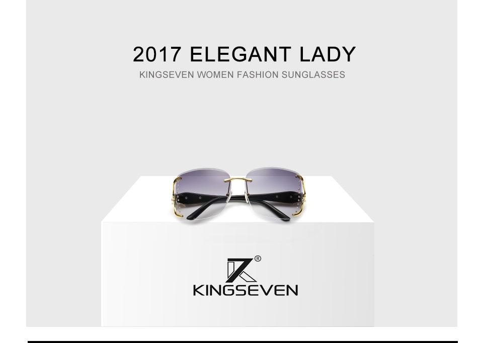 KINGSEEVEN Elegant Female Sunglasses Large frame fox decorated with diamond decoration Brand Designer Women's Glasses Feminine 1
