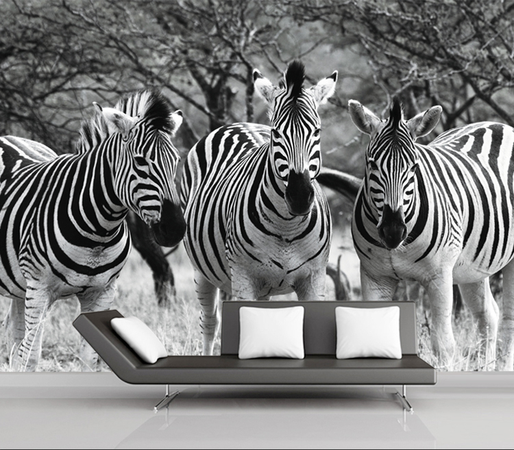 Black and White 3 Zebra Animal Papel Mural 3d Wallpaper for Living Room Sofa Background 3d Wall Photo Murals 3d Wall Stickers white horse animal murals 3d animal wallpaper papel mural for dinning room background 3d wall photo murals wall paper 3d sticker