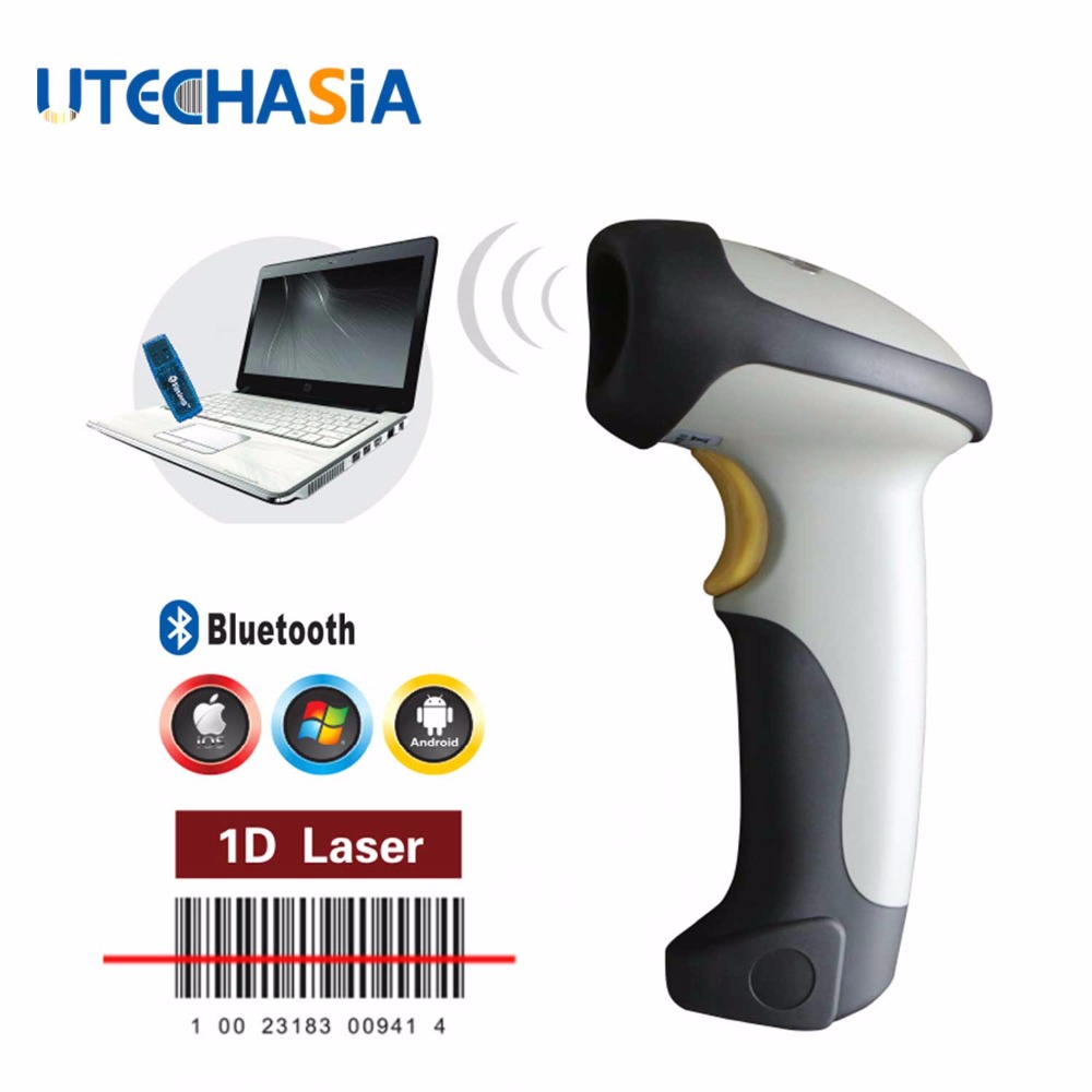 Wireless Bluetooth 1D Barcode Scanner USB Single Line Laser Handheld Wireless Bar Code Scanning Grey