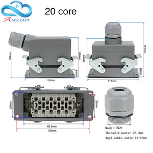 Image 4 - Heavy duty connector rectangular hdc he 4/6/10/16/20/24/32/48 core industrial waterproof aviation plug 16A top and side