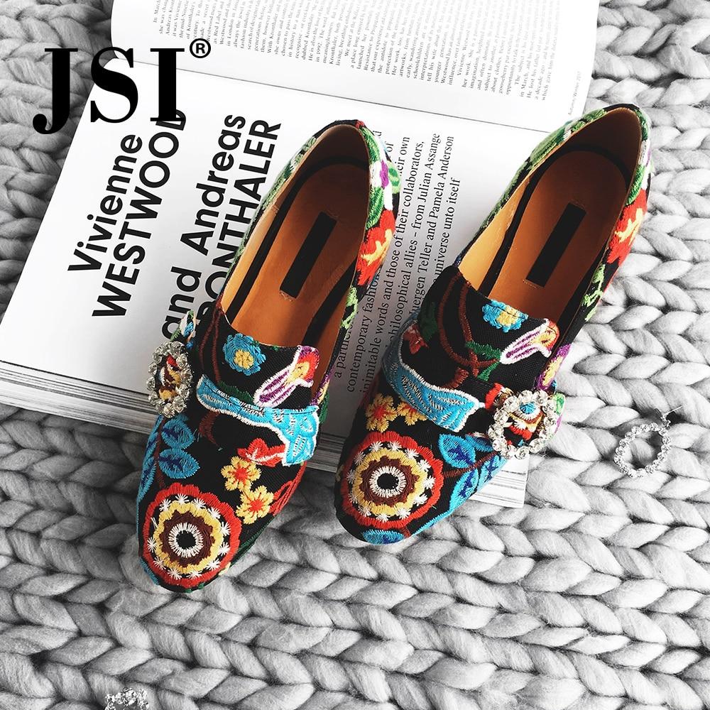 JSI Spring Casual Women Pumps Handmade Cotton Fabric Fashion Ethnic Embroider Ladies Shoes Elegant Square High