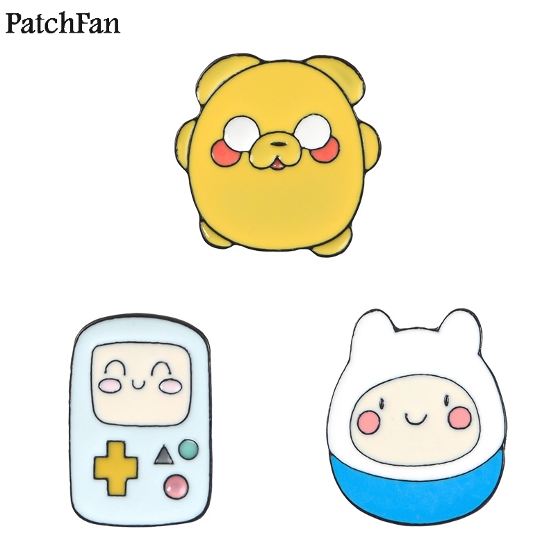 Badges 20pcs/lot Patchfan Adventure Time Zinc Tie Cartoon Pins Backpack Clothes Brooches For Men Women Hat Decoration Badge Medal A1487