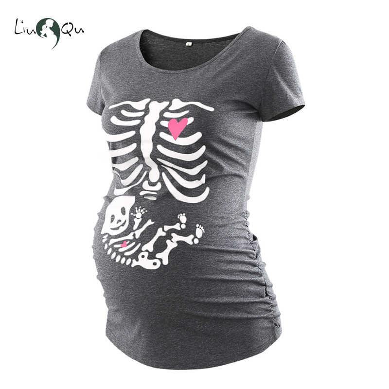 5fffce02 Halloween Skeleton Maternity T shirt Skull Pregnancy Top Maternity Clothes  Ropa Embarazada Cool Bone Pregnant Mama