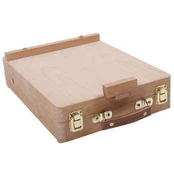 Table Easel with Integrated Wooden Box Art Drawing Painting Table Box Multifunctional Oil Paint Suitcase Desktop Box Art Supply