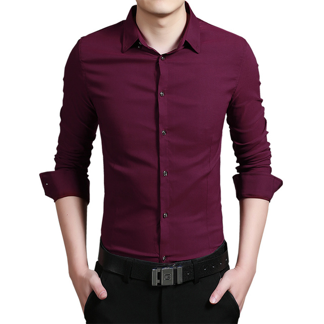 Men's Shirts Slim large size business casual solid color men's long-sleeved shirt White/ black/ red /blue/ navy/ pink/ green