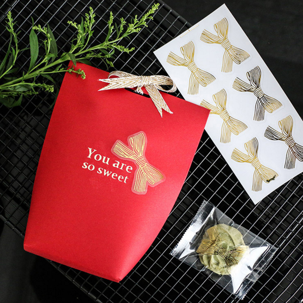 Купить с кэшбэком 60Pcs/lot Cute Golden Big Bow Sticker Gold Handmade Adhesive Cake Sweet Candy Packaging Sealing Label Sticker Gift Stationery